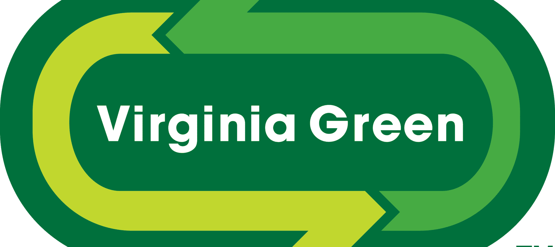 Logo for Virginia Green. Virginia Green written in white on green oval with arrows