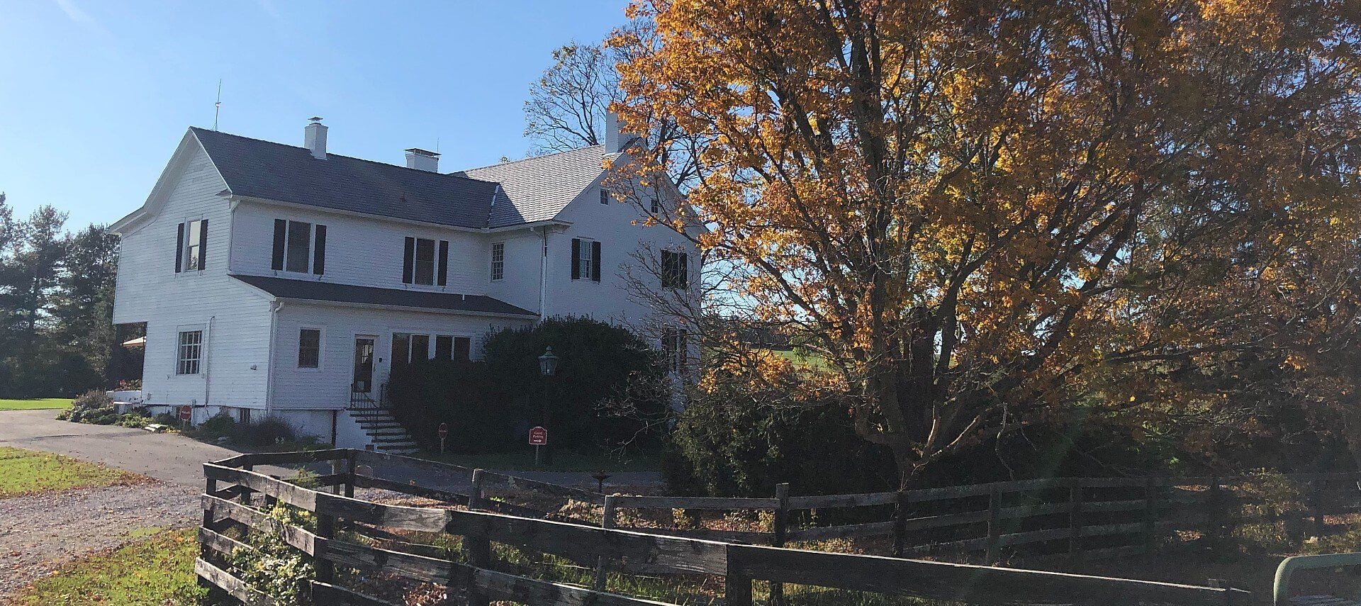 Large white farmhouse next to a fenced yard with tall trees covered in fall leaves