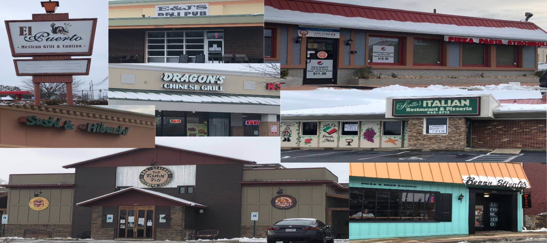 A collage of images of the street view of seven restaurants in Waynesboro that do take out.